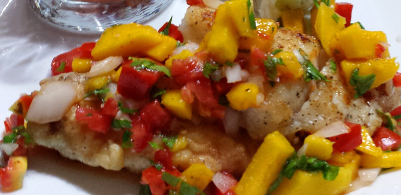 Sautéed Snapper topped with Fresh Tropical Fruit Salsa